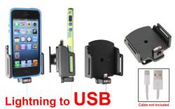 Support voiture Brodit Apple iPhone 5 pour fixation cable - Support réglable. Pour appareil avec étui de dimensions: Larg: 62-77 mm, épaiss.: 6-10 mm. Utilisation avec câble Apple Lightning vers 30 broches Réf 514436