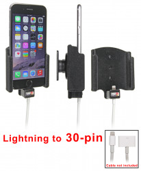 Support voiture  Brodit Apple iPhone 6  pour fixation câble adaptateur Apple lightning vers 30 broches . Avec rotule, traitement peau de pèche