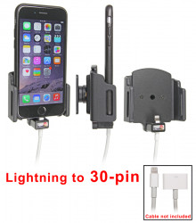 Support voiture Apple iPhone 6/6S/7 pour fixation cable - Utilisation avec câble Apple Lightning vers 30 broches. Pour appareil avec étui : Larg: 62-77 mm, épaiss.: 2-10 mm. Réf 515666