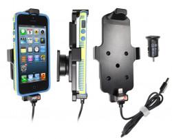 Support voiture Brodit Apple iPhone 5 avec chargeur allume cigare - Avec rotule. Avec câble USB. Chargeur approuvé par Apple. Pour appareil avec étui. Réf 521500
