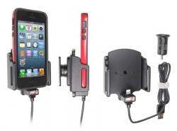 Support voiture Brodit Apple iPhone 5 avec chargeur allume cigare - Avec rotule. Avec câble USB. Chargeur approuvé par Apple. Support réglable. Pour appareil avec étui de dimensions: Larg: 62-77 mm, épaiss.: 6-10 mm. Réf 521502