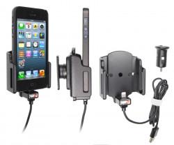Support voiture Brodit Apple iPhone 5 avec chargeur allume cigare - Avec rotule. Avec câble USB. Chargeur approuvé par Apple. Support réglable. Pour appareil avec étui de dimensions: Larg: 59-63 mm, épaiss.: 6-10 mm. Réf 521503