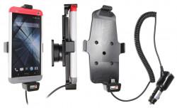 Support voiture  Brodit HTC One  avec chargeur allume cigare - Avec rotule. Pour appareil avec étui. Réf 521525